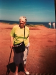 mom and the red sand of P.E.I.